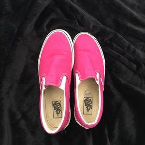 Shoes - Hot pink slip on vans size 10